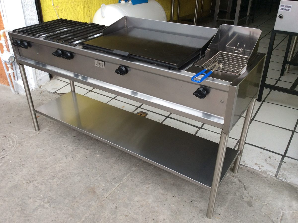 Estufa industrial con 4 hornillas plancha y freidora for Estufas industriales