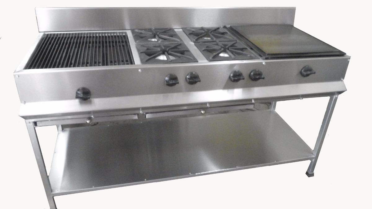 Estufa industrial con asador 4 quemadores y plancha for Comida sin estufa