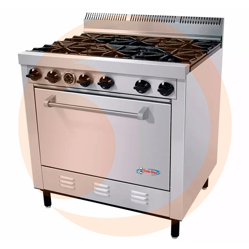 estufa industrial de 6 quemadores con horno san son