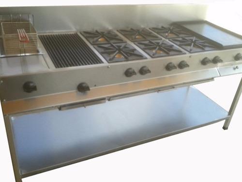 estufa industrial multichef 6 quemadores plancha asador y fr