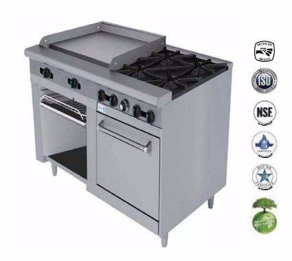 estufa industrial parrilla 4 quemadores  plancha horno asber