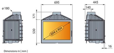 Estufa a le a de alto rendimiento liseo l71 u s for Estufas de alto rendimiento a lena