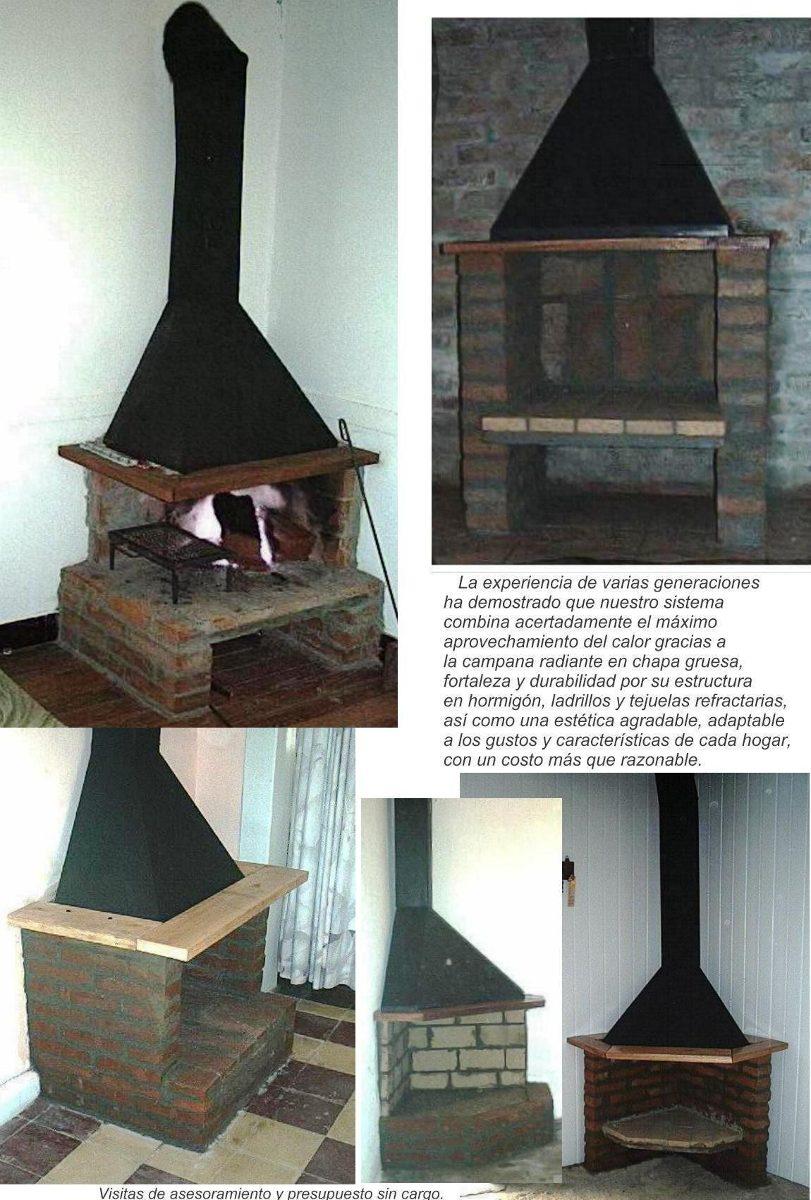 Estufa le a campana metal y ladrillos instalada for Construccion de chimeneas de ladrillo