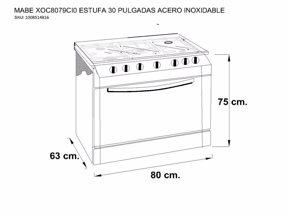 Estufa mabe empotrable xoc8079ci0 30 acero inoxidable for Cuanto vale una estufa industrial