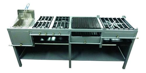 estufa multiple con freidora, 4 hornillas, asador y plancha