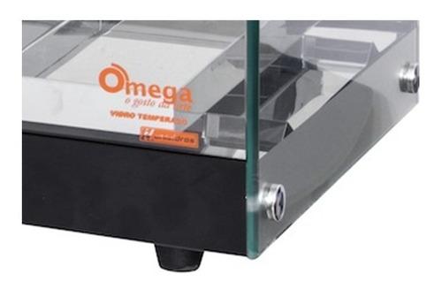 estufa p/ salgados marca omega - dupla 12 bandejas