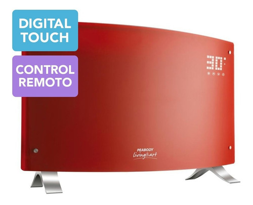 estufa panel vitroconvector peabody curvo 2000w calefactor 6