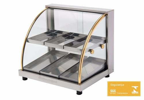 estufa para lanchonete vitrine salgados 6 bandejas duplas