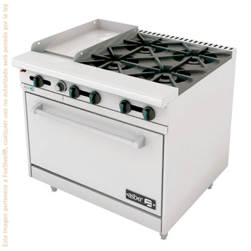 estufa parrilla 4 quemadores industrial plancha horno asber