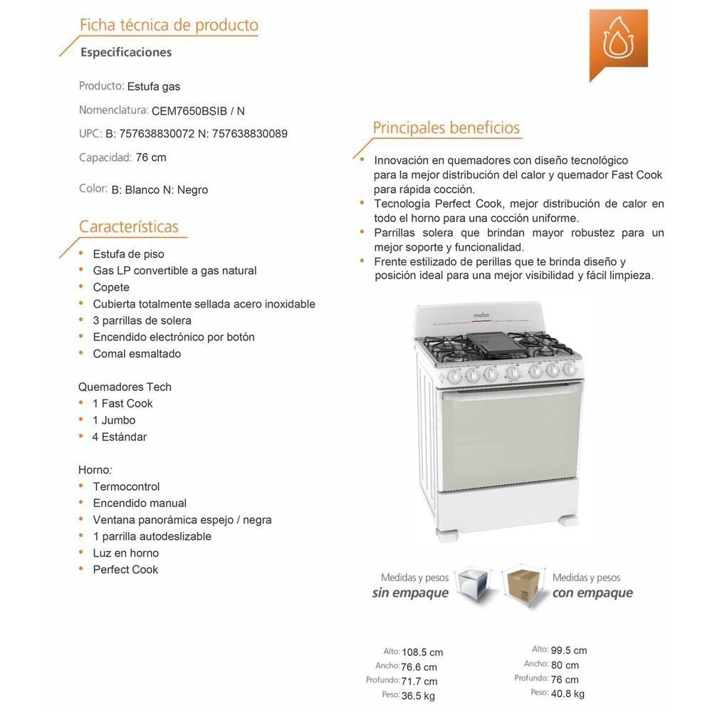 Estufa piso gas 76cm mabe cem7650bsib0 blanco 7 - Estufas para pisos ...