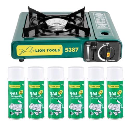 estufa portatil de camping cocina + 6 latas de gas