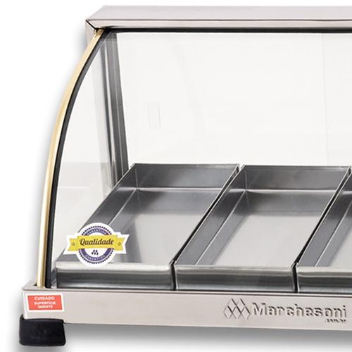 estufa vitrine para salgados 4 bandejas marchesoni inmetro