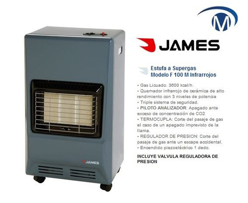 estufas supergas james f100 valvula incl gtia 2 años pcm