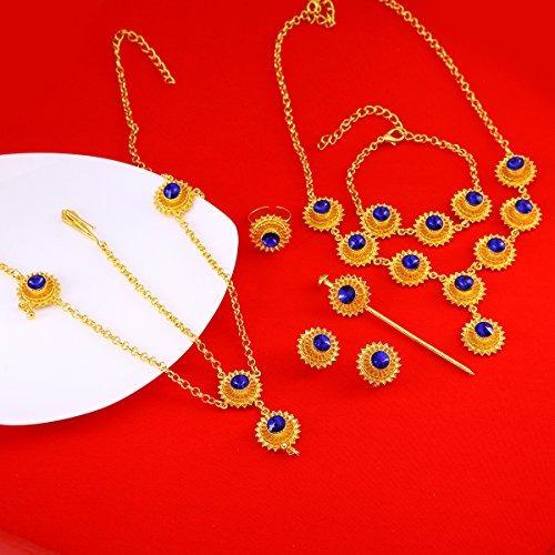 etíope set joyas collar pendiente anillo pieza de pelo cade