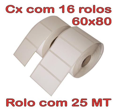 etiqueta 60x80 térmica - 16 rolos - 25 mt - barreira pro