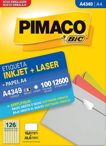 etiqueta a4349 15,0x26,0mm ink-jet/laser pimaco 100 folhas