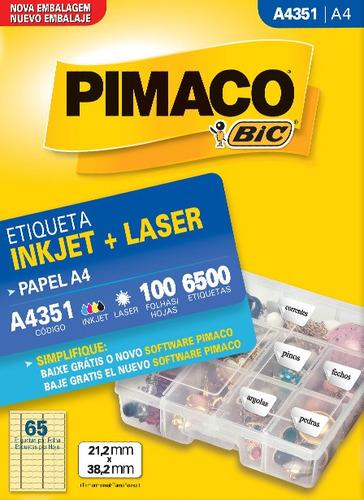 etiqueta a4351 21,2x38,2mm ink-jet/laser pimaco 100 folhas
