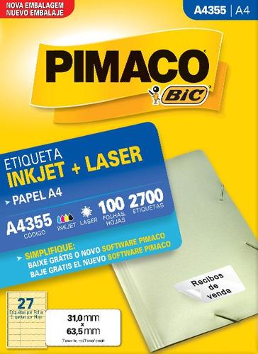etiqueta a4355 31,0x63,5mm ink-jet/laser pimaco 100 folhas