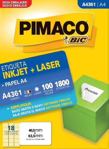 etiqueta a4361 46,5x63,5mm ink-jet/laser pimaco 100 folhas