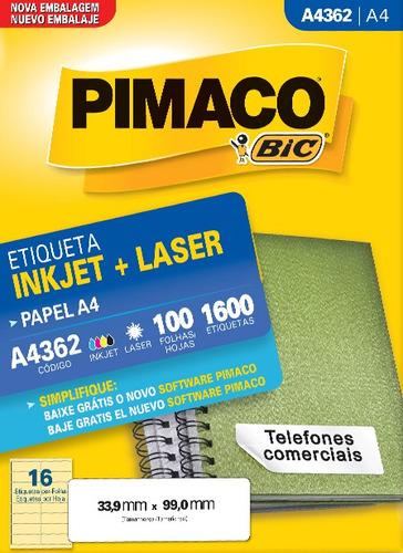 etiqueta a4362 33,9x99,0mm ink-jet/laser pimaco 100 folhas