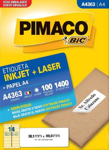 etiqueta a4363 38,1x99,0mm ink-jet/laser pimaco 100 folhas