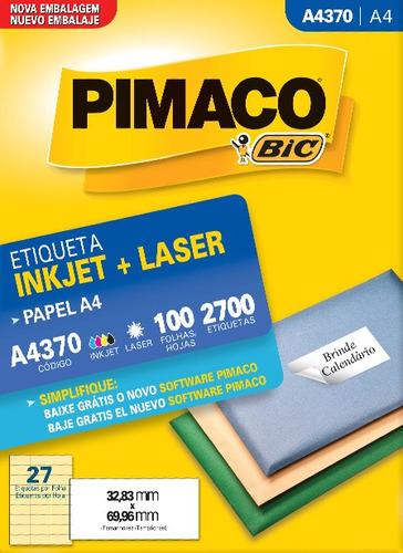 etiqueta a4370 32,83x69,96mm ink-jet/laser pimaco 100 folhas