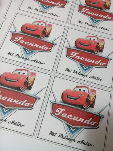 etiqueta autoadhesiva cars promo y mas personajes