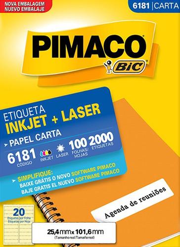 etiqueta carta 6181 25,4x101,6 ink-jet/laser pimaco 100 folh