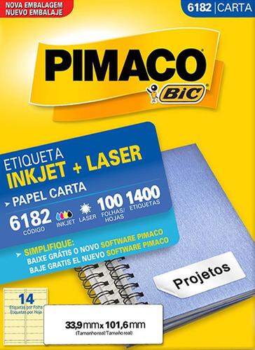etiqueta carta 6182 33,9x101,6mm ink-jet/laser pimaco 100 fo