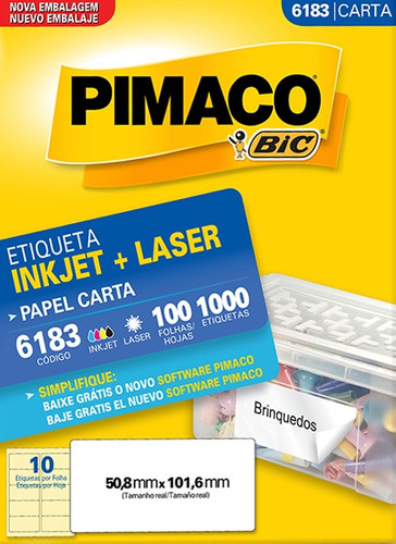 etiqueta carta 6183 50,8x101,6mm ink-jet/laser pimaco 100 fo