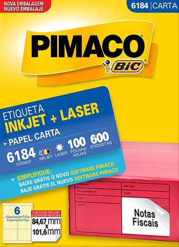 etiqueta carta 6184 84,67x101,6mm ink-jet/laser pimaco 100 f