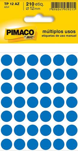 etiqueta colorida redonda tp-12 -210 unidades- 12mm - pimaco