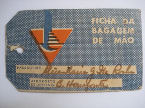 etiqueta de bagagem antiga nacional linhas aéreas