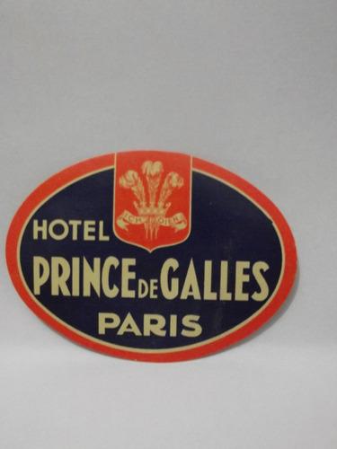 etiqueta de bagagem hotel prince de galles - paris - frança