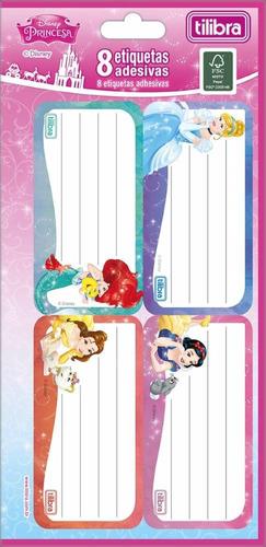 etiqueta escolar adesiva princesas tilibra