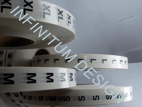 etiqueta flexografica de tallas textiles x,l,m,s