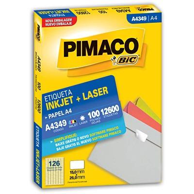 etiqueta ink-jet/laser a4349 pimaco 100 folhas 12600 etiquet
