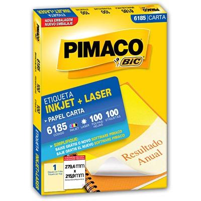 etiqueta  ink-jet/laser carta 279,4 x 215,9 pimaco 6185 100