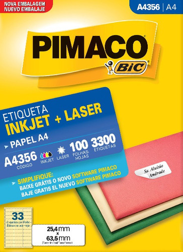 etiqueta inkjet/laser a4356 pimaco 100 folhas 3300 etiquetas