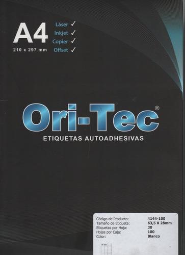 etiqueta oritec a4 4108 para impresoras laser o inkjet x100