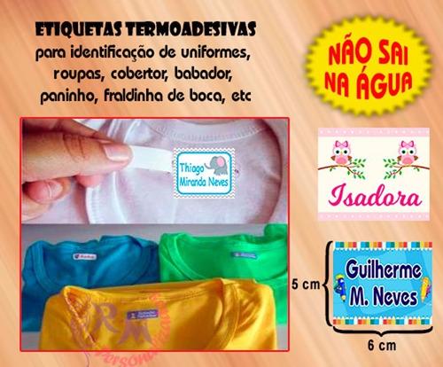 etiqueta personalizada adesivo termocolante p/ roupas 6x5cm