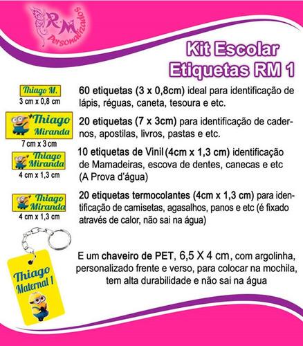 etiqueta personalizada - kit escolar rm1