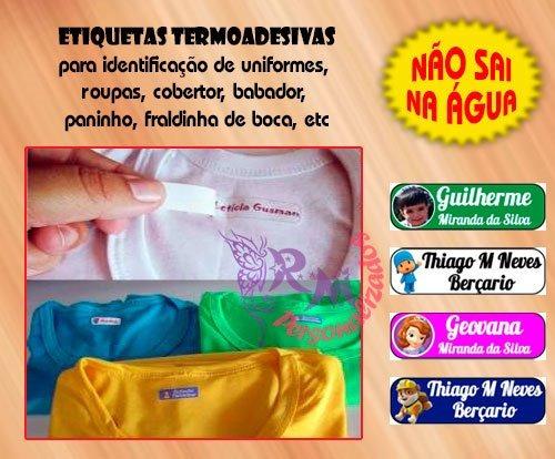 etiqueta personalizada - termocolante para roupa 4x2cm - 30u