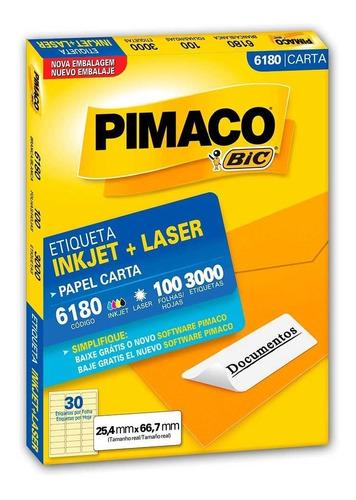 etiqueta  pimaco  6180 carta com 100 folhas
