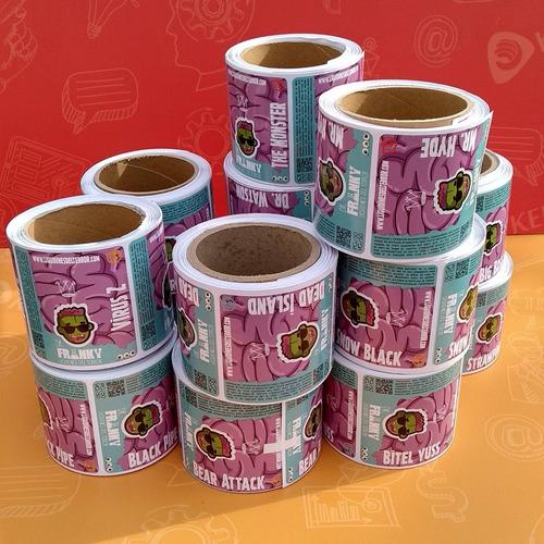 etiquetas adhesivas troqueladas en rollo - envío gratuito