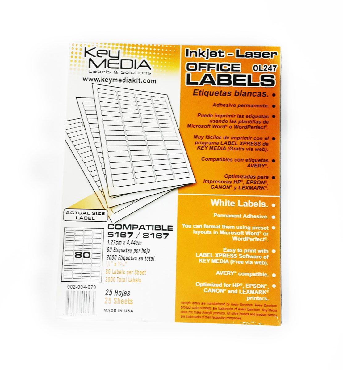 Etiquetas Autoadhesivas Marca Key Media Código Avery 8167 - Bs. 0,04 ...