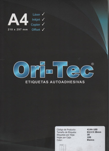 etiquetas autoadhesivas oritec a4 hoja entera x100  4101