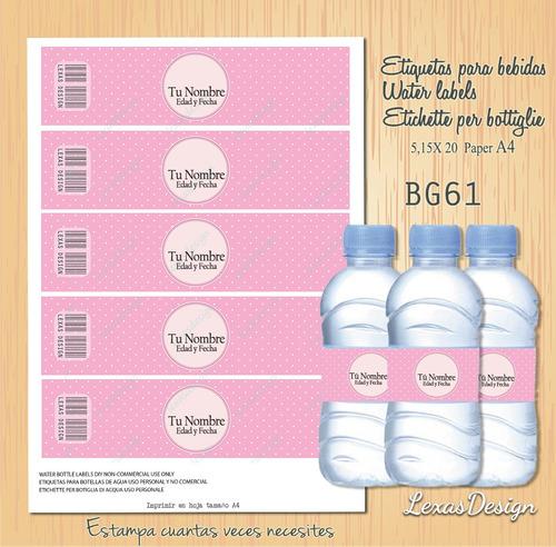etiquetas botellas bebidas niña rosado bg61
