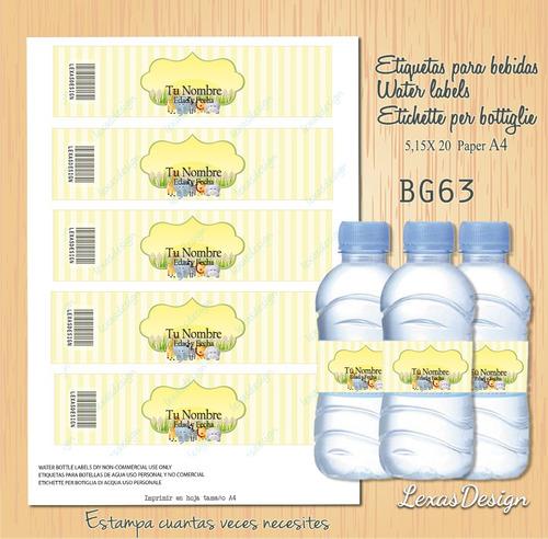 etiquetas botellas bebidas zoo safari unisex bg63