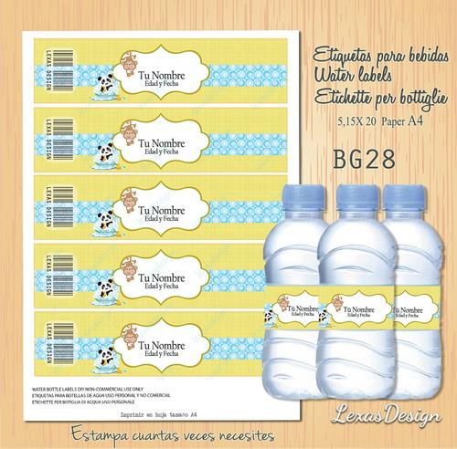 etiquetas botellas bebidas zoo varon bg28